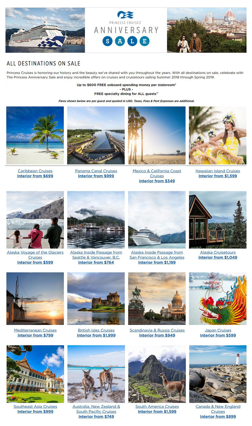 princess cruises anniversary sale