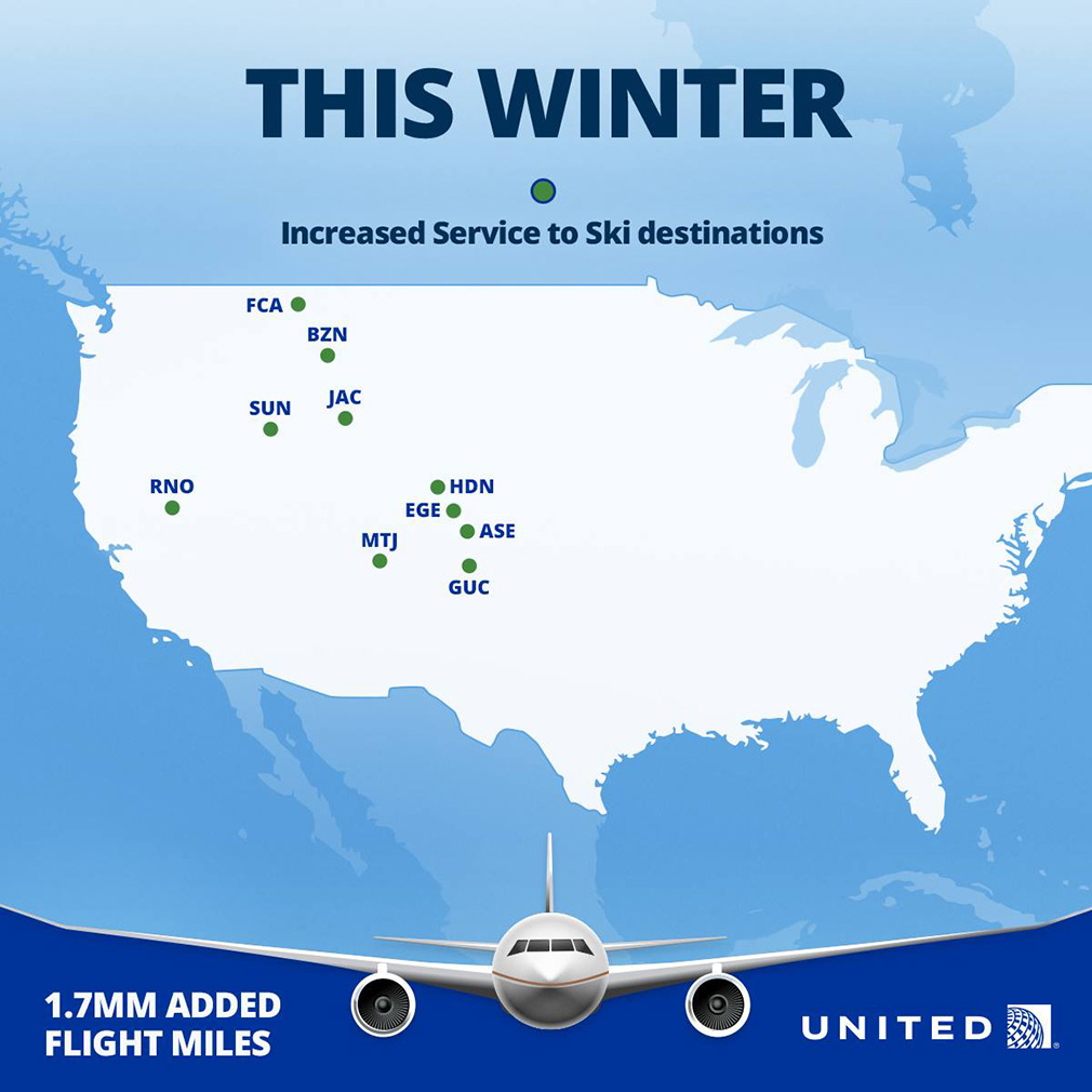 United airlines ski routes