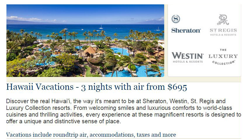hawaii vacations, sheraton, westin, resort