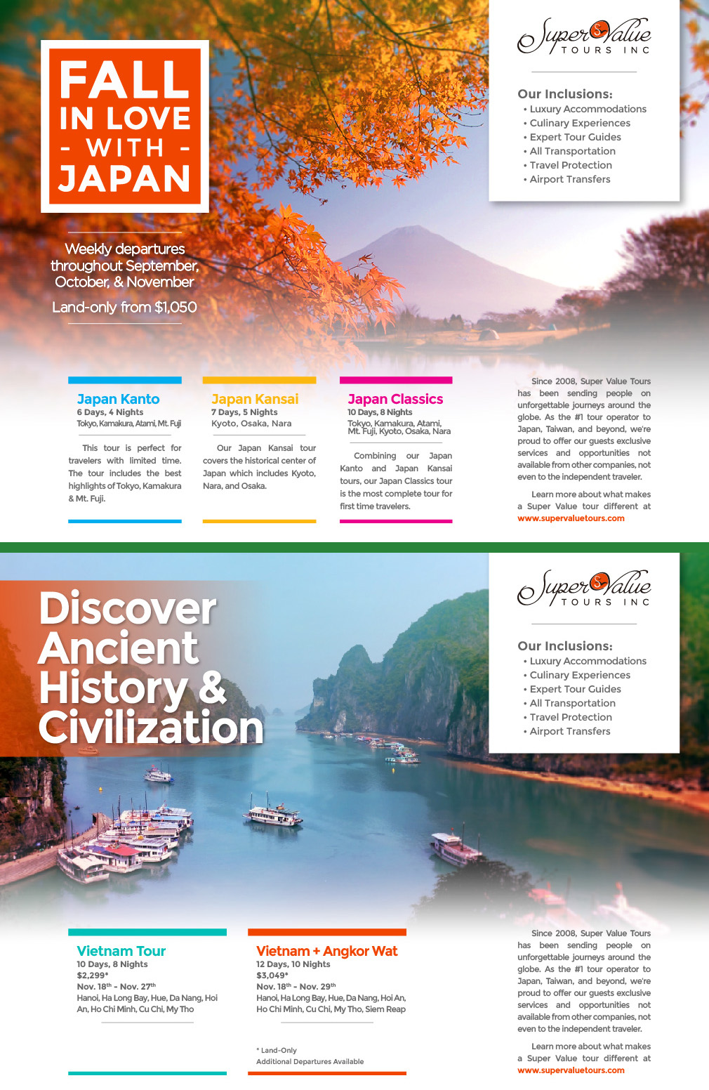 Portal World Travel, Supervalue Tours, Japan, Vietnam